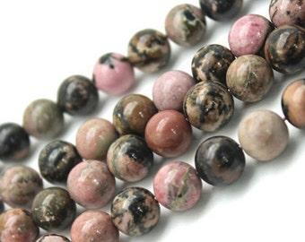 Natural Black Line Pink Rhodonite, Round  Beads, Pink Rhodonite, Rhodonite Beads, 4 6 8 10 12mm, (OB015)