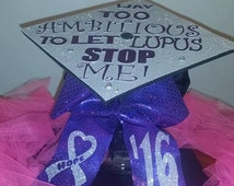Custom Graduation Cap Topper and Matching Cheer Bow