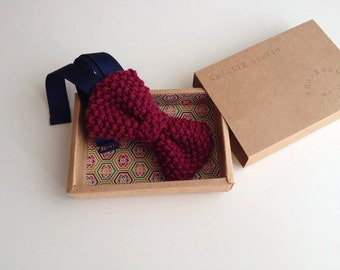 Red Wine CHARLIE BOWTIE | Knitting pure cotton bow tie totally handmade | Perfect gift for him