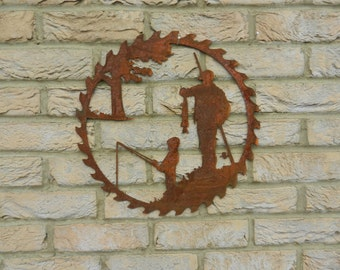 Fishing Circular Saw blade Art / Father & Son / Rusty Metal Art / Garden Decor / Fishing Gift / Fisherman / Fishing Wall Hanging / Fish Art