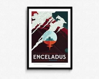 Vintage Space Travel Enceladus Art Print