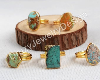 3Pcs or 5Pcs,Real Natural Turquoise Ring,Gemstone Ring, Figurate Genuine Turquoise Jewelry,Gold Plated,Blue Turquoise,JD0139-G