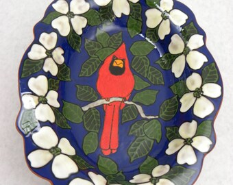 Pottery Tray with Dogwoods and Cardinal