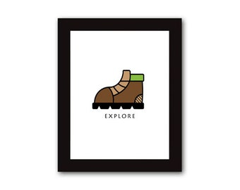 Explore (boots) Print, Printable art wall decor, Illustration - Instant Download