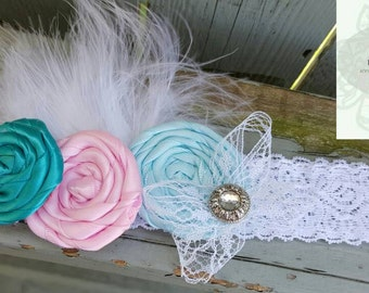 Headband stretch lace with flowers