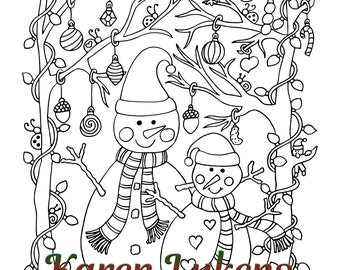 "Christmas - ""Happy Snowmen"", 1 Adult Coloring Book Page, Snowman, Christmas, Karen Lukens"