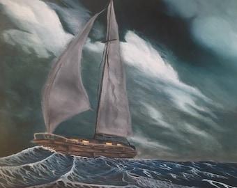 Oil Painting Print: Stormy Seas