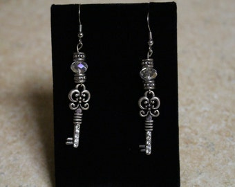 Crystal key earrings