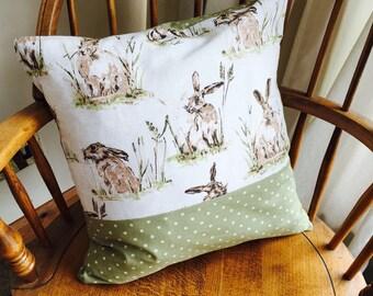 Hare and Green Spot Cushion