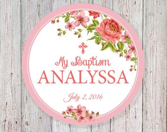 "Floral Baptism 2"" Round Label - (Can also be worded for a wedding or a babyshower)  (DIGITAL FILE)"