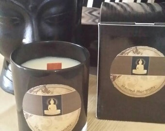 100 % soy candle in beautiful black glass container