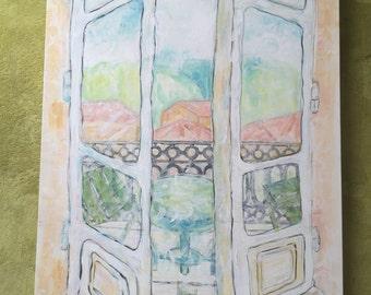 Le balcon de villa ensoleillée