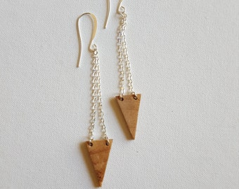 Wooden Triangle and Chain Earrings