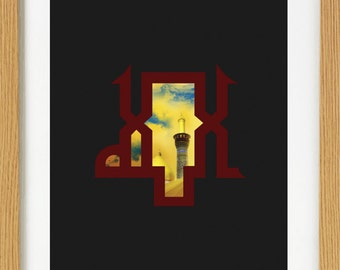 Modern Islamic Art Print - Allah (SWT) and Imama Hussain (AS) Kufic: 0007_Almighty+Hussain