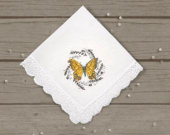 Yellow Butterfly Handkerchief, Ladies Hankie, Flirty Handkerchief, Delicate Butterfly, Lacey Hankie, Butterfly Hankie, Ladies Accessories