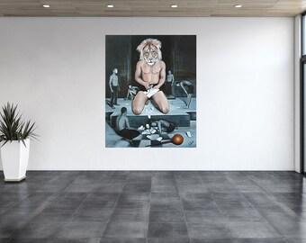 Lion, portrait, original oil painting, surrealism, unique, fantasy, symbolism, painting, painting. Figures, people, game, mask, symbolism
