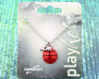 Customized Basketball Mom Enamel Necklace - Personalize with Basketball Jersey Number, Heart Charm, or Letter Charm! Great Basketball Gift!
