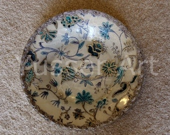 Handpainted decoupage glass plate