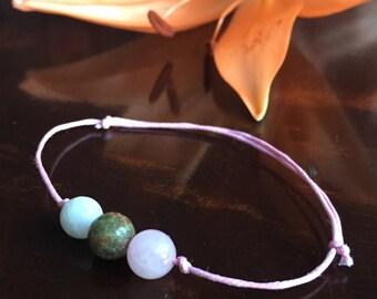 Fertility gemstone bracelet- wish bracelet great IVF or ttc gift. Unakite moonstone rose quartz