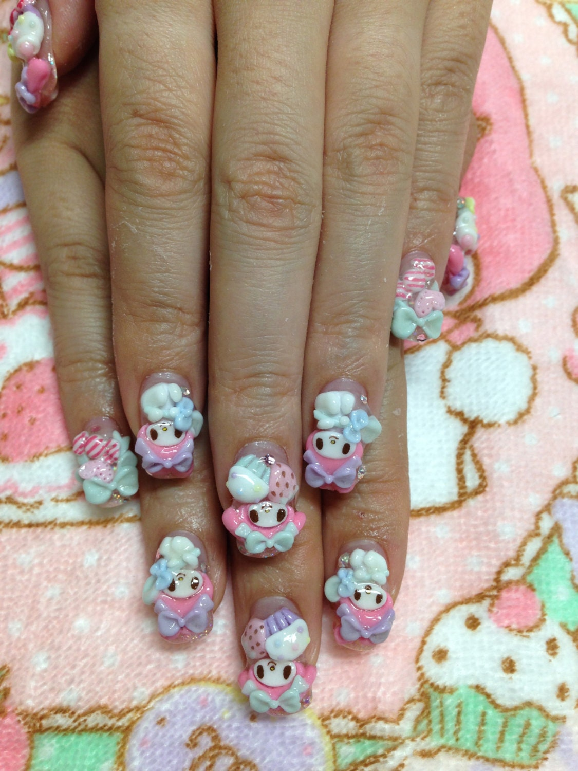 3d nail art parts sweets and cake my melody design from for 3d nail art salon