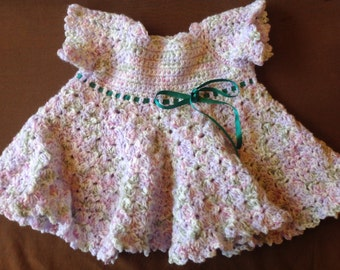 Baby Girls Dress hand knitted in beautiful Softspot Wool