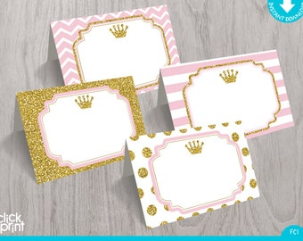 Pink and Gold Print Yourself Food Tent Cards, Printable Princess Place Cards, Princess Party Decoration, Party Decoration, Party Printables