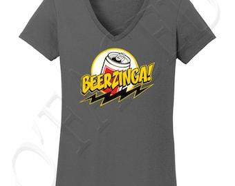 Beerzinga Big Bang Theory Inspired Ladies V-Neck T-shirt, Beerzinga Big Bang Theory Inspired Tee for Women - 1314C
