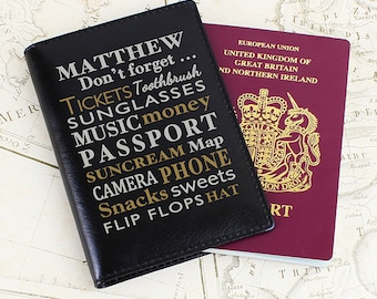 Personalised Leather Pink or Black Passport Cover - 'Don't Forget'