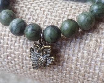 Jade Owl Stretch Bracelet