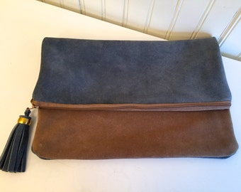 Blue and Tan Clutch