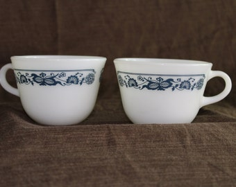Pyrex/Corning Old Town Blue Tea Cups (2)