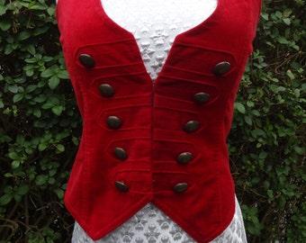 Vintage Velvet Military Style Red Velvet Waistcoat Ladies 6 8