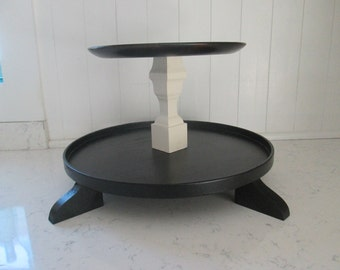 Black and Cream Tiered Circular Tray