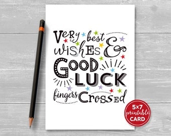 Printable Good Luck Card   Very Best Wishes U0026 Good Luck, Fingers Crossed   5  Good Luck Cards To Print