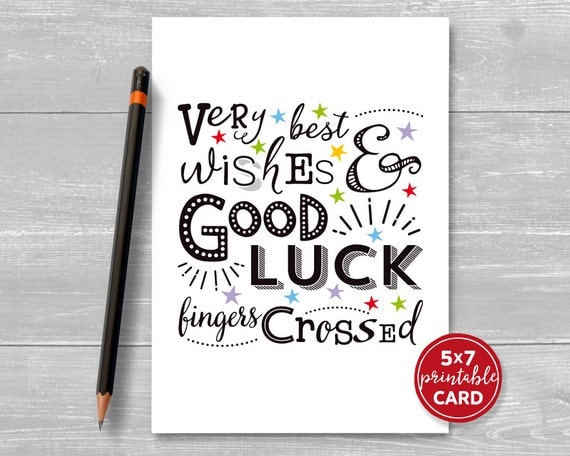 Printable Good Luck Card   Very Best Wishes U0026 Good Luck, Fingers Crossed    5  Good Luck Card Template