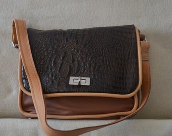 All Leather Chocolate Brown Bag with Tan Trim