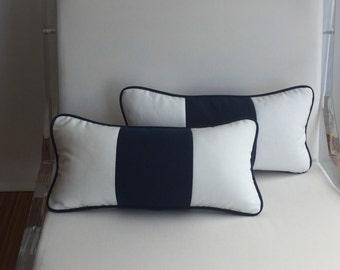 Decorative Pillow, Blue & White Outdoor Lumbar Pillow