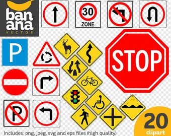SALE Traffic Signs Clipart png jpg svg eps files high resolution BV-CO-0001