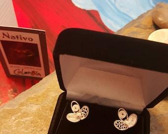 Filigree Handmade stud earrings  from Mompox Colombia