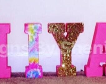 Pink tye dye themed letters