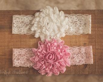 SALE ** Pink Girls Headband. Vintage Rose Pink Baby Girls Headband. Pink Headband. Baby Pink Headband. Pink Rose Headband. Chiffon Headband