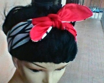 red and white and black head band