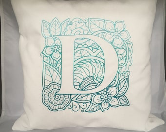Embroidered Initial Throw Pillow