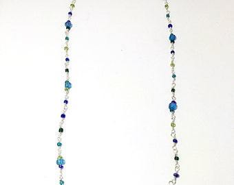 Wire wrapped seed beads. Blue and green