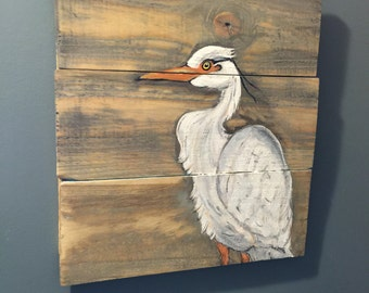 Heron, Heron Wood Sign, Rustic, Beach Wall Decor, Beach House, Bird Wood Signs, Hand Painted Signs, Ocean Art, Wooden Signs, Lake House