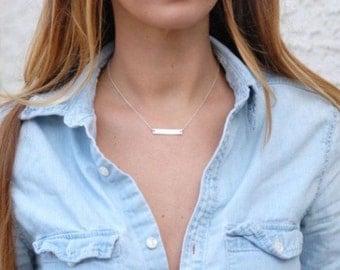 Silver bar necklace, Silver bar, elegant necklace