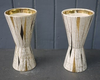 Modern Atomic pottery Foreign pair of Vases to Design chart W.Germany. Mid Century Pair of German Art Pottery Vases