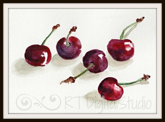 Https Www Etsy Com Listing 462038985 Cherries In Watercolor Print Kitchen