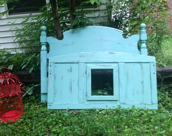 Shabby chic turquoise distressed headboard and matching footboard