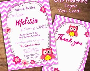 Owl Birthday Invitation, Girl First Birthday Invitation, Owl Invitation, 1st Birthday, 1st, 2nd, 3rd Girl Birthday Invite, Printable Invite